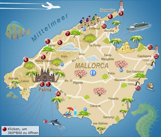 Mallorca Sehenswuerdigkeiten Karte Map Plan Rsc Kattenberg E V